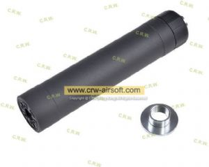 Crusader - TR45S Airsoft Suppressor for HK45CT (14mm CCW/16mm CW, Black)